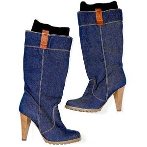 bamboo denim boots